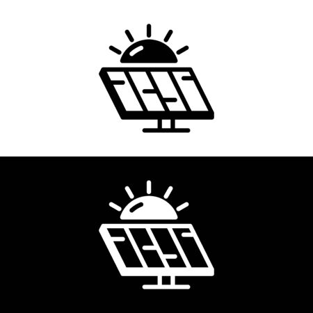 Sun and solar battery icon in glyph style, minimalistic . Vector illustration on white and black background.