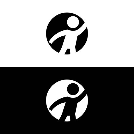 Active man round glyph style icon. Vector illustration on white and black background.