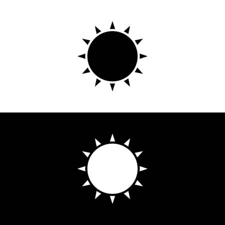 Sun icon in glyph style. Vector illustration on white and black background. Иллюстрация