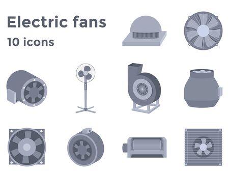 Ventiladores eléctricos establecen iconos en estilo plano, dispositivos de ventilación ilustración vectorial