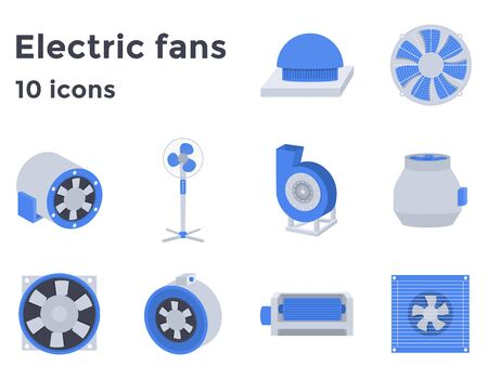 Electric Fans set icons in flat style, ventilation devices vector illustration Иллюстрация