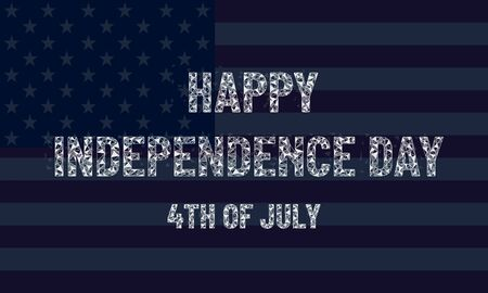 Happy Independence Day USA, text in a low poly design, American flag, dark symbolic festive background, greeting card illustration Stock Illustratie