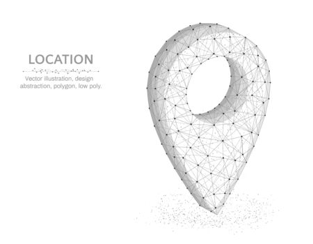 Location pin low poly graphic object, polygonal image navigation, gps icon wire frame vector illustration on white background