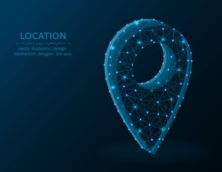 Location pin low poly graphic object, polygonal image navigation, gps icon wire frame vector illustration on a dark blue background