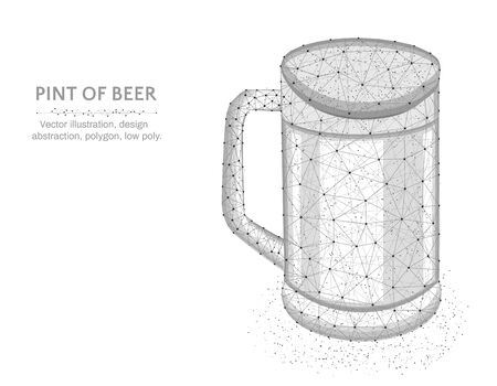 Pint of beer low poly graphic model, polygonal glass mug, alcohol drink wire frame vector illustration on white background