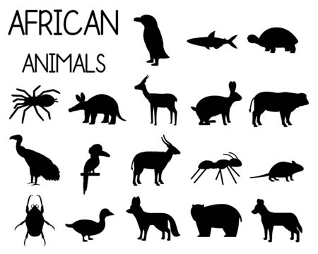 African animal silhouettes set of icons in flat style, African fauna, dwarf goose, African vulture, buffalo, gazelle Dorcas, etc. vector illustration Иллюстрация