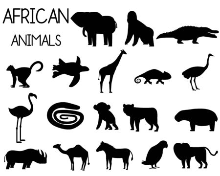 African animal silhouettes set of icons in flat style, African fauna, elephant, rhino, lion, parrot, etc. vector illustration