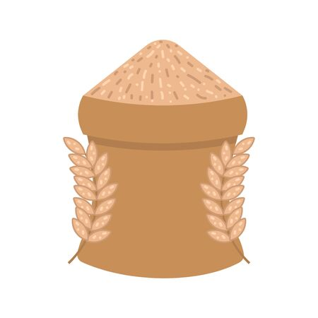 Sack of grain flat icon, spike of grain, agriculture, harvest vector illustration isolated on white background