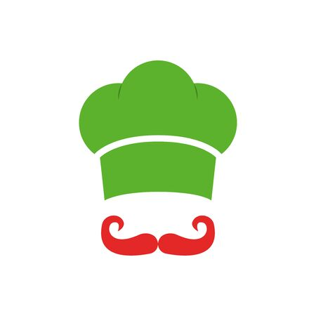 Cook vector glyph icon, chef hat and mustache vector illustration