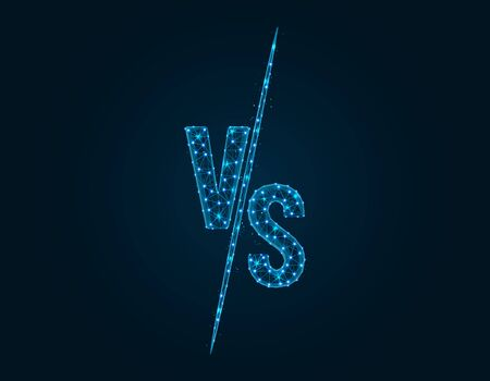 Versus Battle low poly design, Competition vs match game in polygonal style, martial battle vs sport vector illustration on dark blue background