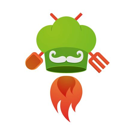 Cook vector flat icon, chef hat, mustache, fire and cutlery vector illustration