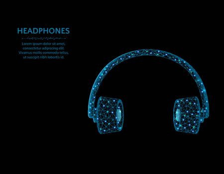 Headphones low poly design, polygonal audio equipment vector illustration on black background