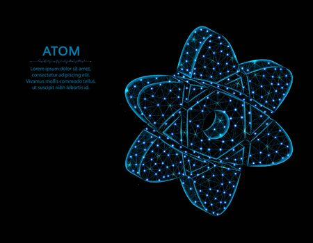 Atom low poly design, Science in polygonal style, chemistry and physics vector illustration on black background