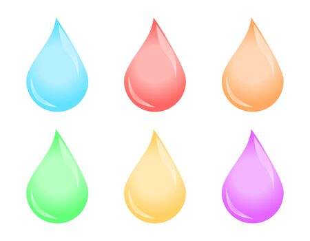 Drops icon set, multicolored liquid vector illustration on white background