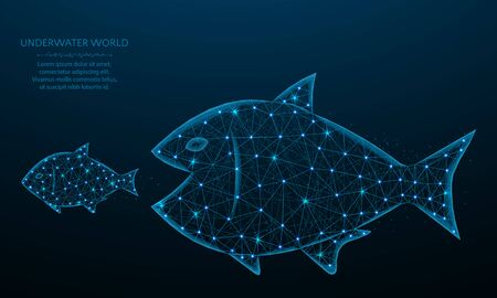 Big fish eat small low poly design, predator and prey in polygonal style, underwater world vector illustration on blue background