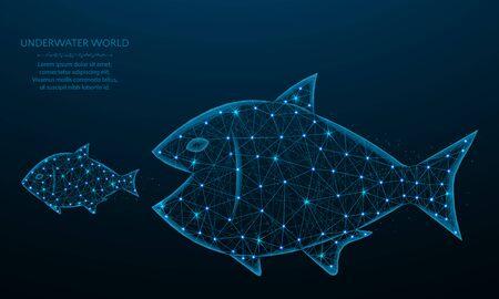 Los peces grandes comen diseño de polietileno pequeño pequeño, depredador y presa en estilo poligonal, Ilustración de vector de mundo submarino sobre fondo azul