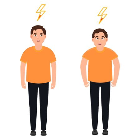 The guy with a low energy charge, a man with a breakdown, cartoon character vector illustration