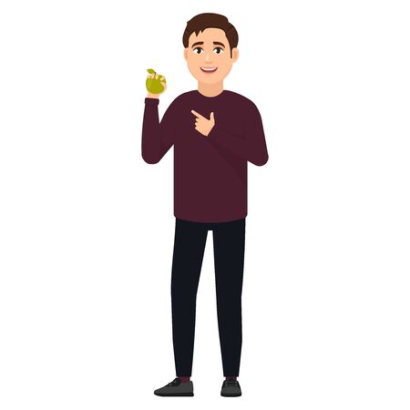 The guy holds a green apple and shows on it a finger, cartoon character vector illustration
