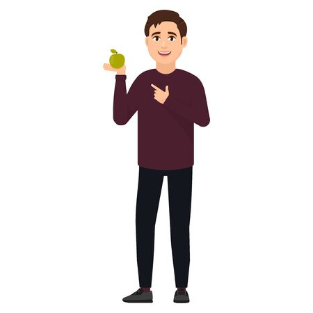 The guy holds on his palm a green apple and points at it with a finger, cartoon character vector illustration