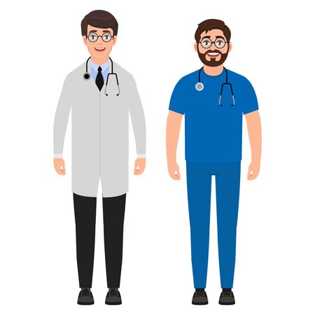 Two male doctors with a stethoscope around his neck, medical workers, cartoon character vector illustration