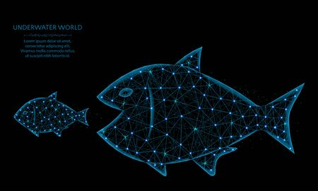 Big fish eat small low poly model, predator and prey in polygonal style, underwater world wireframe vector illustration made from points and lines on a black background
