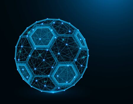 Soccer ball low poly model, Sport game abstract graphics, football polygonal wireframe vector illustration on dark blue background