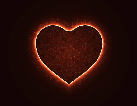 Heart symbol magic low poly model, love polygonal wireframe vector illustration on dark orange background