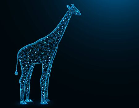 Giraffe low poly model, African animal abstract graphics, mammal polygonal wireframe vector illustration on dark blue background Иллюстрация