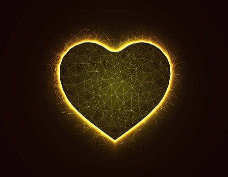 Heart symbol magic low poly model, love polygonal wireframe vector illustration on dark yellow background