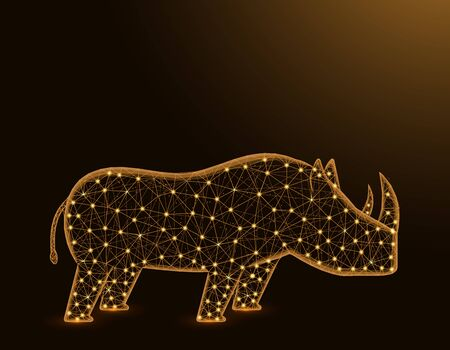 Rhinoceros low poly model, African animal abstract graphics, solitary mammals polygonal wireframe vector illustration on dark yellow background