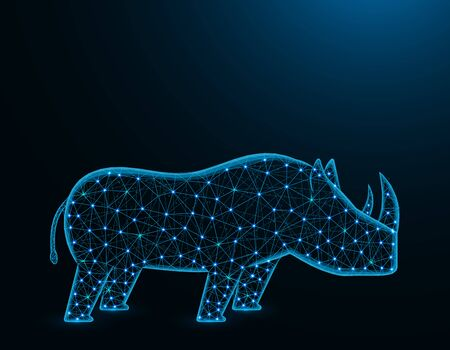 Rhinoceros low poly model, African animal abstract graphics, solitary mammals polygonal wireframe vector illustration on dark blue background Иллюстрация