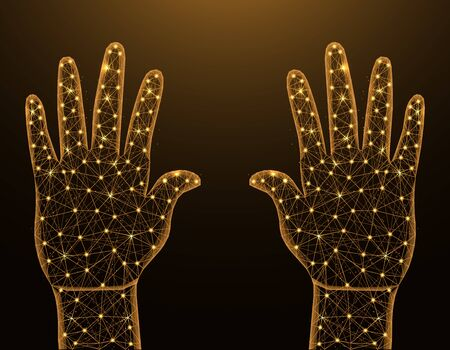 Human palms of hands low poly model, gesture in polygonal style, body part wireframe vector illustration made from points and lines on dark yellow background
