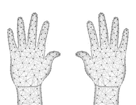 Human palms of hands low poly design, gesture in polygonal style, body part wireframe vector illustration made from points and lines on a white background Иллюстрация