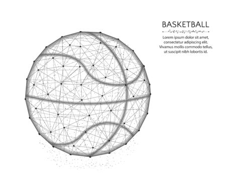 Basketball low poly design, Sport game abstract graphics, ball wireframe vector illustration made from points and lines on a white background