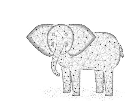 Elephant low poly design, African animal polygonal wireframe vector illustration made from points and lines on a white background