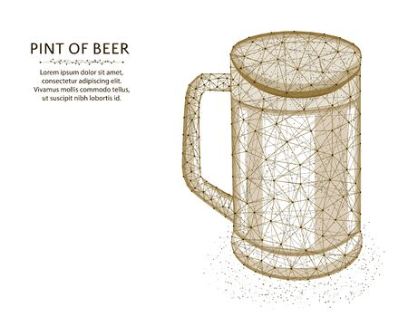 Pint of beer low poly graphic design, polygonal glass mug, alcohol drink wireframe vector illustration made from points and lines on a white background