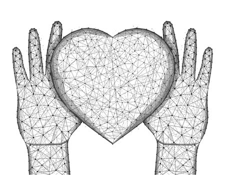 Human hands and a heart symbol low poly design, valentine in polygonal style, love wireframe vector illustration made from points and lines on a white background Иллюстрация
