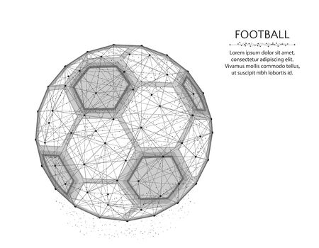 Soccer ball low poly design, Sport game abstract graphics, football polygonal wireframe vector illustration made from points and lines on a white background Иллюстрация