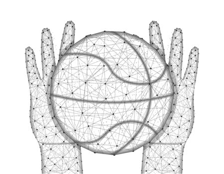 Hands and ball for playing basketball low poly design, sports game in polygonal style, catch or throw the ball wireframe vector illustration made from points and lines on a white background