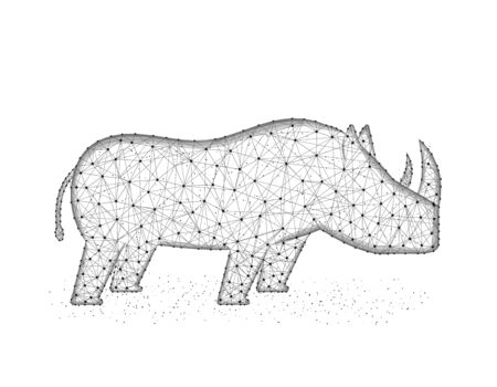 Rhinoceros low poly design, African animal abstract graphics, solitary mammals polygonal wireframe vector illustration made from points and lines on a white background Иллюстрация