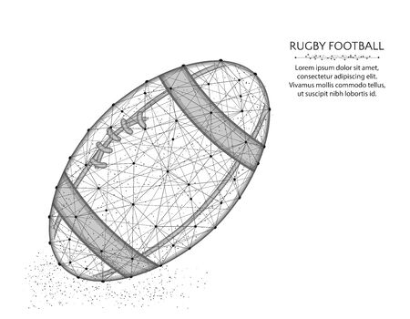 Rugby ball low poly design, Sport game abstract graphics, American football polygonal wireframe vector illustration made from points and lines on a white background
