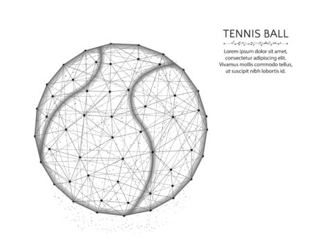 Tennis ball low poly design, Sport game abstract graphics, polygonal wireframe vector illustration made from points and lines on a white background