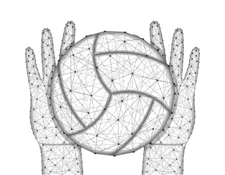 Hands and ball for playing volleyball low poly design, sports game in polygonal style, catch or throw the ball wireframe vector illustration made from points and lines on a white background Иллюстрация