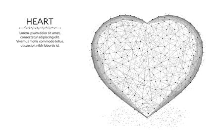Heart symbol low poly design, love polygonal wireframe vector illustration made from points and lines on a white background Иллюстрация