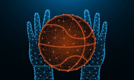 Hands and ball for playing basketball low poly design, sports game in polygonal style, catch or throw the ball wireframe vector illustration made from points and lines on dark blue background