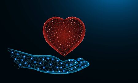 Human hand and a heart symbol low poly design, valentine in polygonal style, love wireframe vector illustration made from points and lines on dark blue background