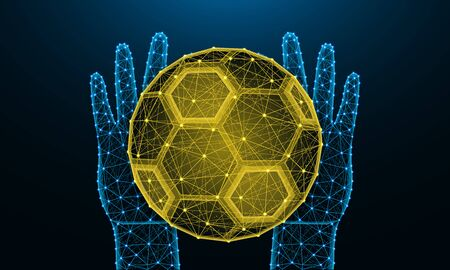 Hands and soccer ball low poly design, football, sports game in polygonal style, catch or throw the ball wireframe vector illustration made from points and lines on dark blue background