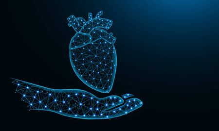 Hand and human heart low poly design, human organ donor in polygonal style, cardiology wireframe vector illustration made from points and lines on dark blue background