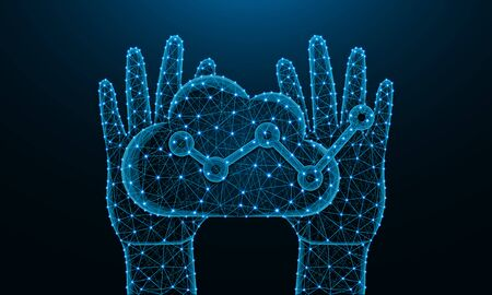 Human hands and cloud analytics low poly design, football, data analysis in polygonal style, graph wireframe vector illustration made from points and lines on dark blue background