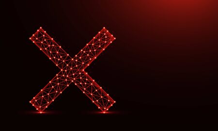 Cross mark low poly design, delete symbol in polygonal style, letter x wireframe vector illustration made from points and lines on dark red background
